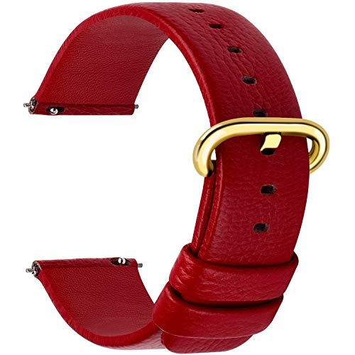 12 Colors for Quick Release Leather Watch Band, Fullmosa Uli Genuine Leather Watch Strap 20mm Red-GD