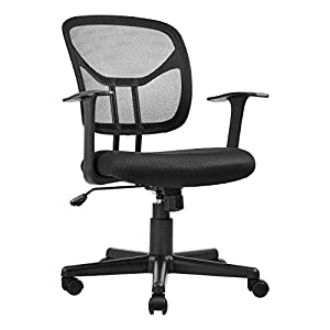 AmazonBasics Mid-Back Desk Office Chair with Armrests – Mesh Back, Swivels – Black, BIFMA Certified