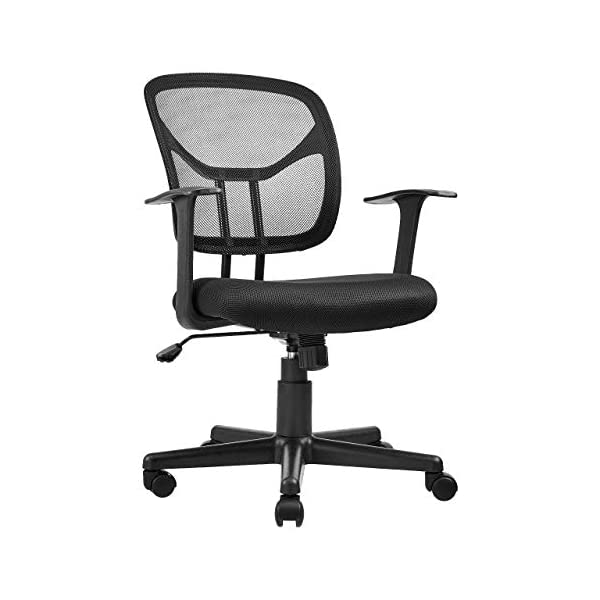 AmazonBasics Mid-Back Desk Office Chair with Armrests – Mesh Back, Swivels...
