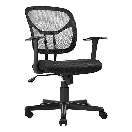 k Desk Office Chair with Armrests - Mesh Back, Swivels - Black ()
