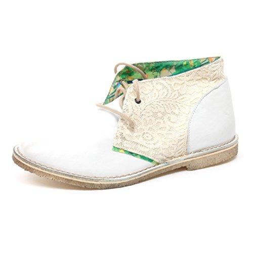 B3984 35 Shoe Desert Polacchino Pizzo Scarpa Woman LECROWN Donna Boot Avorio dq6dHn