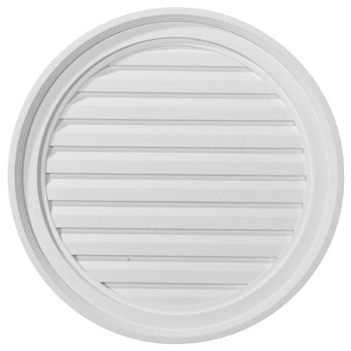 Ekena Millwork GVRO22D 22-Inch W x 22-Inch H x 1 5/8-Inch P Round Gable Vent Louver, Decorative by Ekena - Round Vent Gable Louver