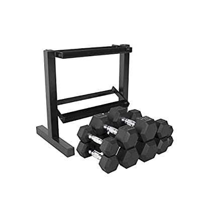 CAP Barbell 150-lb Rubber Hex Dumbbell Weight Set