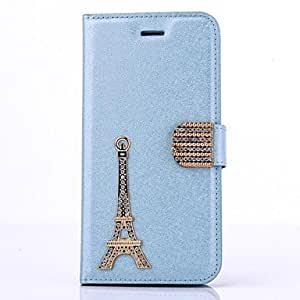 HaleyL-Diamond Iron Tower PU Leather Full Body Case with Stand for iPhone 6 Plus(Assorted Colors),Blue