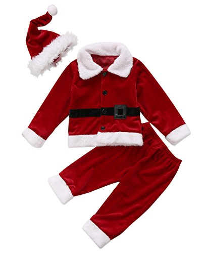 XARAZA Baby Boys Christmas Clothes Outfits Velvet Long Sleeve Outwear Jacket + Santa Long Pants + Hat (Wine Red, 6-12 -