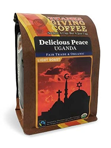 Thanksgiving Coffee 'Delicious Peace, Uganda - Light Roast' Light Roasted Fair Trade Organic Shade Grown Whole Bean Coffee - 12 Ounce Bag