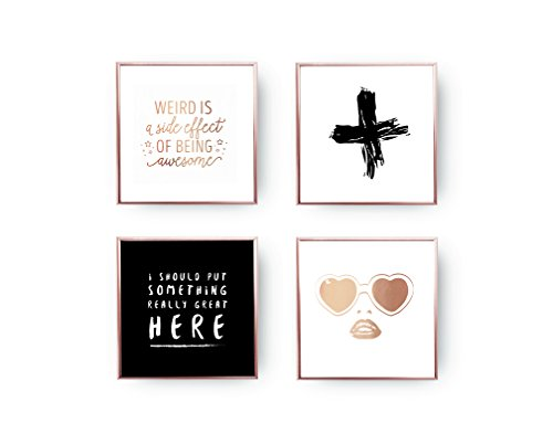 SET of 4 Prints, Gold Foil Print, Minimal Art, Teenage Set, Weird Is A Side Effect, Black Cross, Heart Sunglasses, Funny Quote, Home - Sunglasses Quotes