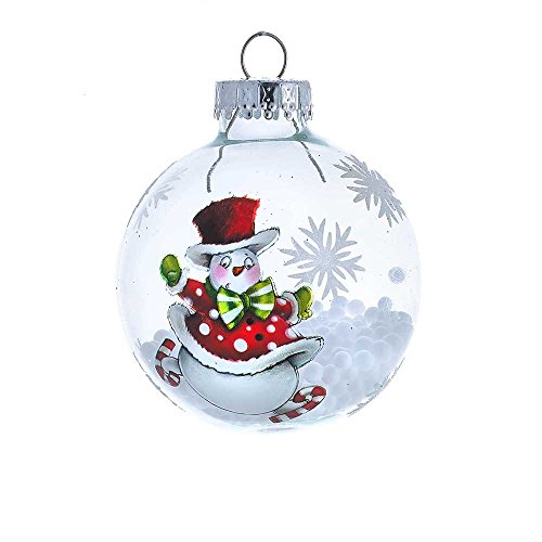 - Kurt Adler 60mm Clear Snowman Ball Ornament Set of 4