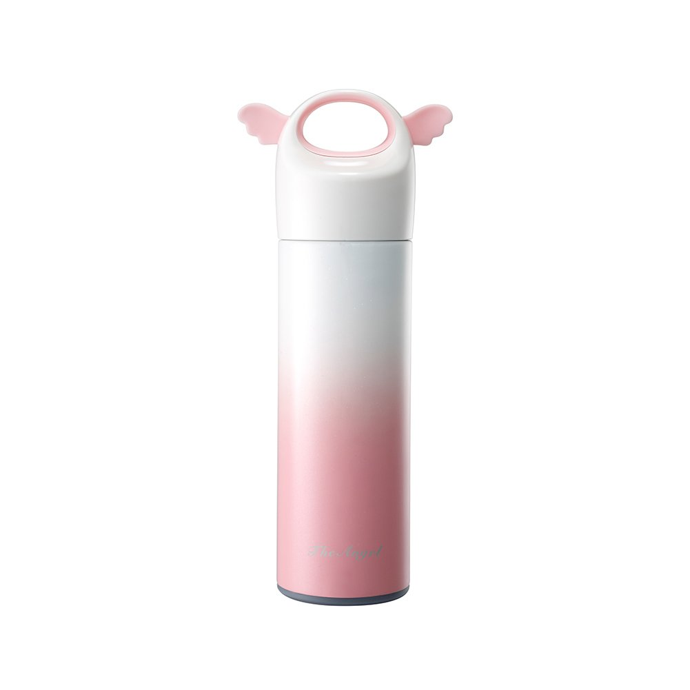 lanburch 13.7 Oz (400ml) Lovely角度Wing水ボトル断熱ステンレススチールウォーターボトル[ピンク] B07CTH9YKY