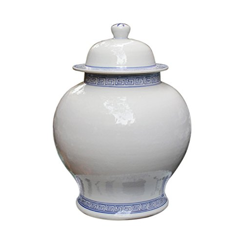 Asian Traditional Chinese Decorative White Temple Jar With Blue Greek Key (Greek Key Vase)