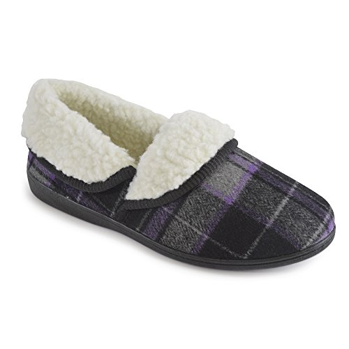 Socks Uwear  Slumberzzz,  Damen Durchgängies Plateau Sandalen mit Keilabsatz Lilac & Black Check