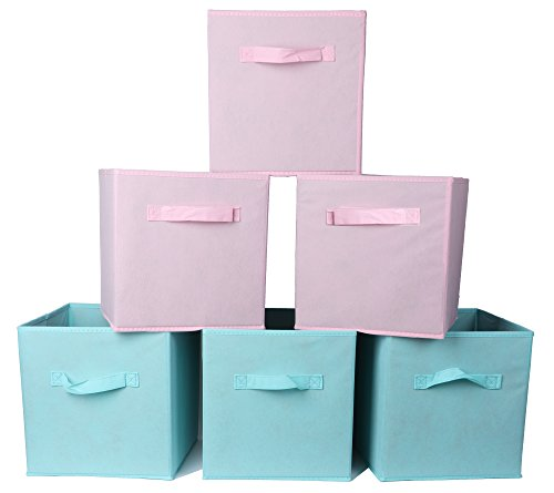 AzxecVcer Storage Bins Non-woven Fabric Foldable Organizer Basket Polyester Canvas Storage Box For Kids Toys,Clothes,Shelves,6 Pack (3 pink +3 sky blue) by AzxecVcer