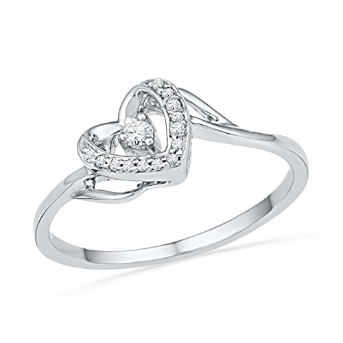 Sonia Jewels Size 5.5-10k White Gold Round Diamond Heart Love Promise Bridal Ring 1/12 Cttw