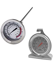 """Set of 2 Stainless Steel Oven Monitoring Thermometer & Long Stem Fry Thermometer, DaKuanDial Oven Thermometer with Hook and Panel Base and 12"""" Meat Cooking Thermometer"""
