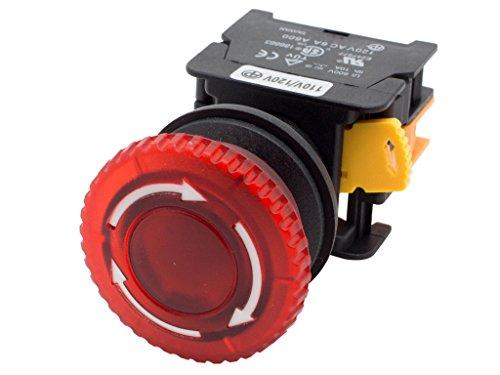 Alpinetech MBL30 Red 30mm 1NC Emergency Stop Push Button Switch Estop EPO Mushroom Switch 120V AC/DC LED Illuminated