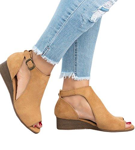 PiePieBuy Women's Cut Out Espadrille Platform Wedge Sandals Ankle Strap Peep Toe Suede Shoes