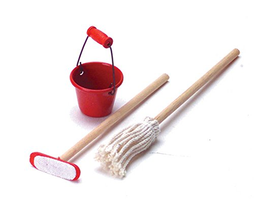 Dollhouse Miniature Mop, Duster, and Bucket #RA0108