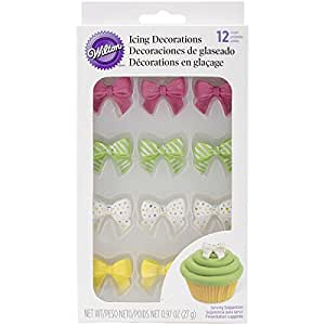 Wilton 710-6012 12 Count Bow Icing Decorations, Assorted