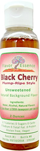 BLACK CHERRY Flavoring by Flavor Essence (Unsweetened, Natural Background Flavoring) 2 Oz. |For Beverages/Food: coffee/tea, shakes, smoothies, bar drinks --baking, doughs, batters, frostings, yogurt