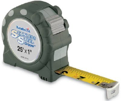 Komelon USA SS125 1'' X 25' SS Gripper Stainless Steel W/Rubber Grip Tape Rule by Komelon