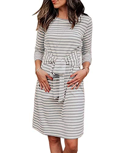 NiuBia Womens Striped Dresses Bow Tie Waist 3/4 Sleeve Knee Length Round Neck Casual Midi Dress