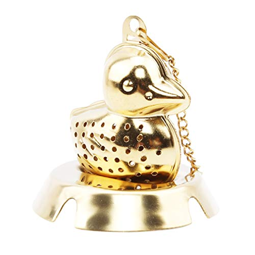 EH-LIFE Teapot Cute Duckling Shape with Tray Tea Set Tea Brew Home Kitchen Tea Supplies Gift Gold by EH-LIFE (Image #1)