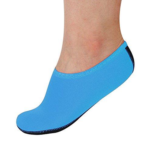 OverDose Unisex Barefoot Water Skin Shoes Aqua Socks for Beach Swim Surf Yoga Exercise (M, Blue)