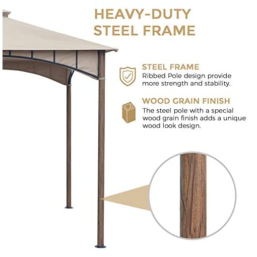 Garden and Outdoor AsterOutdoor 10×10 Gazebo for Patios Outdoor Canopy for Shade and Rain, Waterproof Soft Top Steel Metal Gazebo for Lawn… pergolas