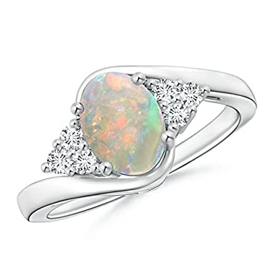Angara Oval Opal Bypass Ring with Trio Diamond Accents in Rose Gold