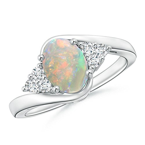 Mother's Day Offer - Oval Opal Bypass Ring with Trio Diamond Accents in 14K White Gold (8x6mm Opal) by Angara.com