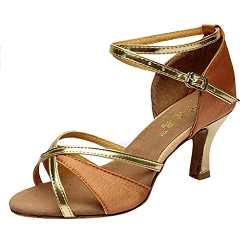 Todaies Dance Shoes,Girl Latin Med-Heels Satin Shoes Party Tango Salsa Dance Shoes (37, Brown)]()