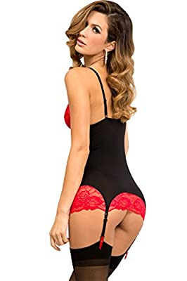 Rene Rofe Women's Lace and Garter Chemise and G-String Set