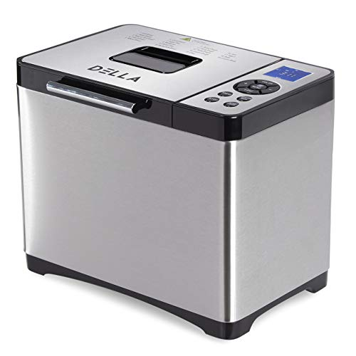 DELLA Automatic Electric Bread French Whole Wheat Corn Bread Baking 19 Custom Programs Stainless Steel Maker 1000g 650W
