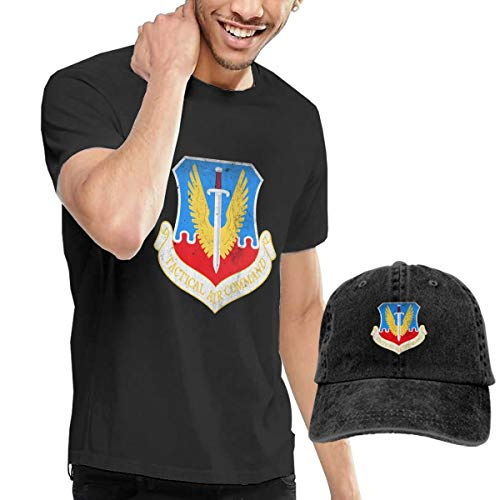 Tactical Air Command Emblem Men's Cotton Round Neck Short Sleeve Tshirt Jerseys and Denim Hat Combo Set