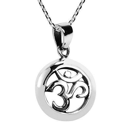 AeraVida Simple Round Aum or Om Prayer Sign .925 Sterling Silver Pendant Necklace