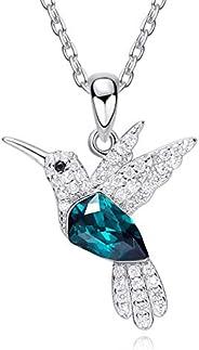 Mayfer   Collar de Plata esterlina 925 para Mujer con Dije de colibrí Decorado con Cristal Austriaco