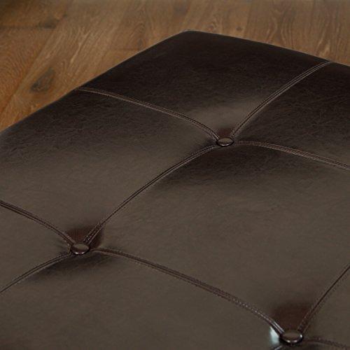 Avalon Espresso Brown Leather Ottoman Coffee Table