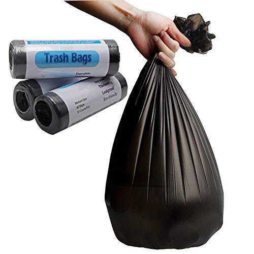 FANMAOUS Kitchen Garbage Bags 4 Gallon 90 Counts in Total Strong Durable Trash Bags for Home Bathroom Office (30 Counts/Roll, Black)