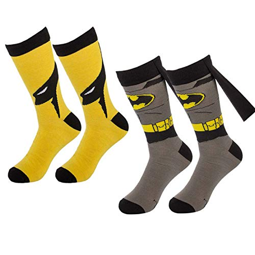 Bioworld (1 Pair) Superhero Socks Mens Crew, Colorful Comic-Book Characters, Fits Shoe Size 8-12, Cape Superhero Socks