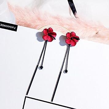 4b511f8ffbea BAOZIV587 Aretes Cristal Moda Largo de temperamento) Video cara mazorca  delgada uña earrings ear flores femeninas caída