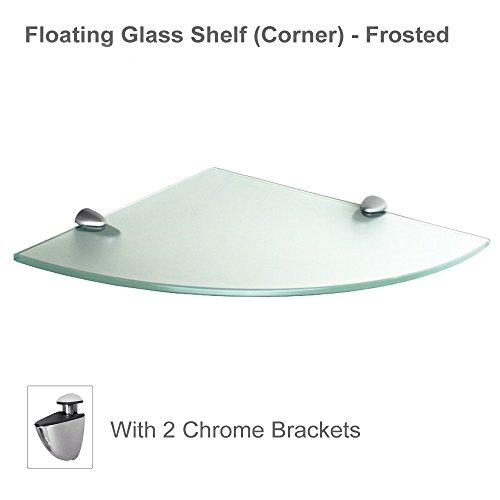 "Fab Glass and Mirror Floating Glass Corner Shelf with Chrome Brackets, Clear Glass, 8"" X 8"""