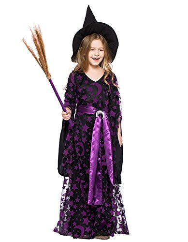 (HNGHOU Girl's Witch Costume Chlid Mystical Queen Costume Halloween Cosplay Witch Kid Dress)