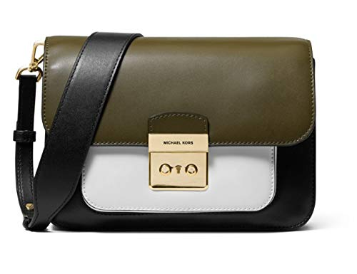 Michael Kors Sloan Editor Tricolor Signature Shoulder Bag (Black/Optic ()