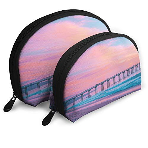 Pastel Pier Hermosa Beach United States Shell Portable Bags Clutch Pouch Cosmetic Makeup Bag Pouch 2Pcs ()