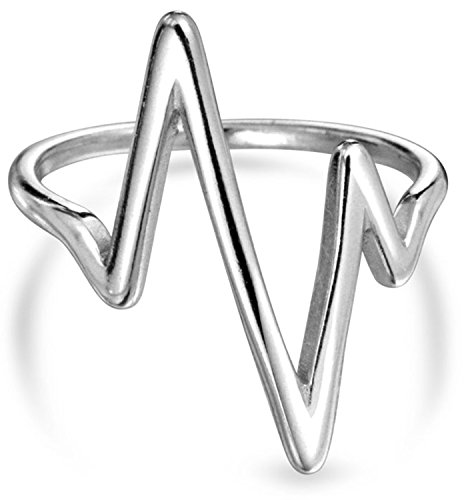 Bling Jewelry Sterling Silver Chevron Midi Ring Lightning Bolt Stackable Rings Grey 7
