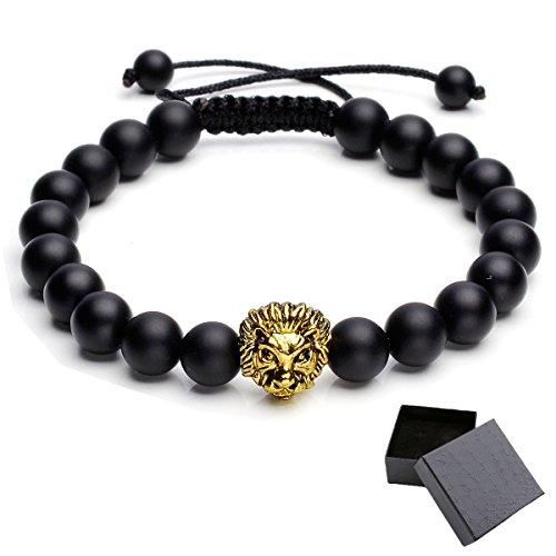 Top Plaza Jewelry Lava Rock Stone Matte Black Agate Mens Gemstone Beads Bracelet W/Gold Lion Head(Macrame Matte Black Agate)