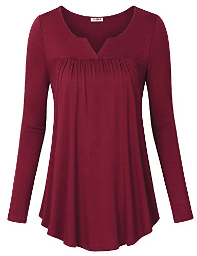 (Jazzco V Neck Blouse Tops for Women,Ladies Petite Flowy Long Shirt Textured Flattering Solid Long Sleeve Tunic Flyaway Trapeze Easy Fit Winter Draped Pleat Blouse for Work(Red,Large))
