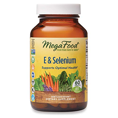 MegaFood, E & Selenium, Supports Optimal Health, Antioxidant Supplement Vegan, 60 Tablets (60 Servings)