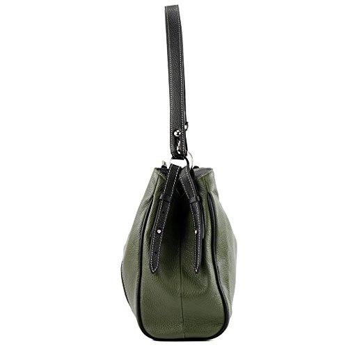 In Pelle Tracolla anthrazitgrau A schwarz Borsa Armeegrün T119 Colore qAdZCwqxR