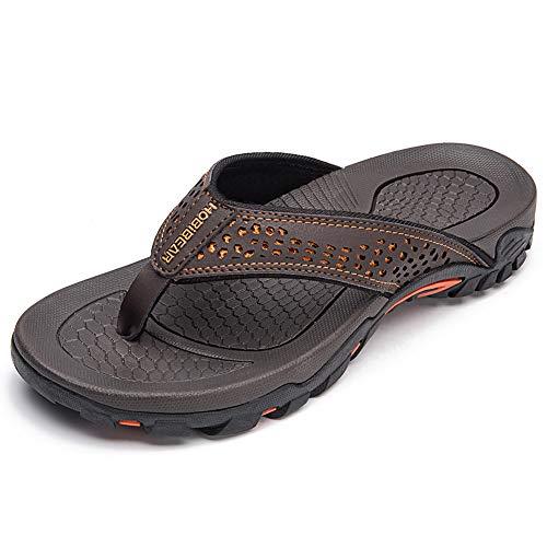 HOBIBEAR Mens Flip Flops Sport Thong Sandals Comfort for Outdoor Beach Shoes(Brown-a Size 9)